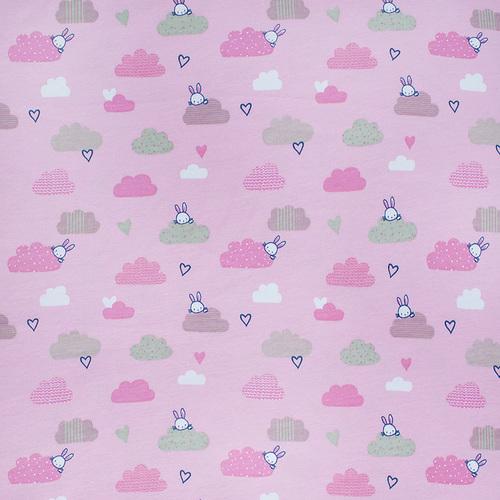 Ткань на отрез интерлок пенье Облачный зайчик розовый R330 фото 1