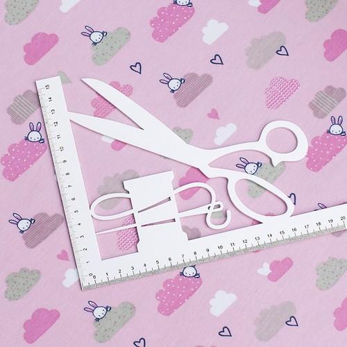 Ткань на отрез интерлок пенье Облачный зайчик розовый R330 фото 2
