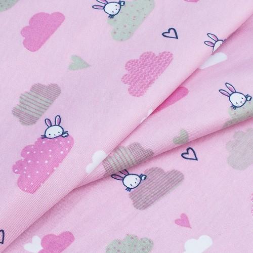 Ткань на отрез интерлок пенье Облачный зайчик розовый R330 фото 3