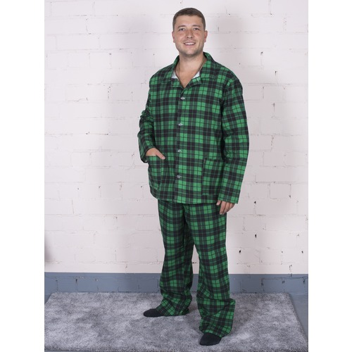 Пижама мужская фланель клетка 64-66 цвет зеленый фото 1