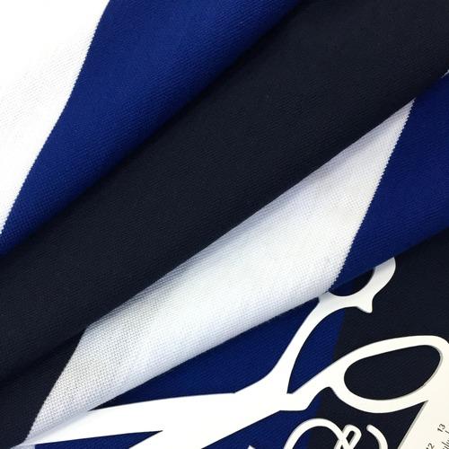 Ткань на отрез пике №3 Полоса синяя фото 2