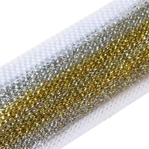 Лампасы №96 белый люрекс золото серебро 2.5см 1 метр фото 1