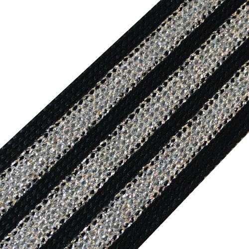 Лампасы №90 черный люрекс серебро полосы 3см 1 метр фото 1