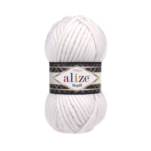 Пряжа ALIZE SUPERLANA MEGAFIL 55-белый (25% шерсть 75% акрил) фото 1
