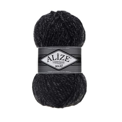 Пряжа ALIZE SUPERLANA MAXI 800-антрацитовый жаспе (25% шерсть 75% акрил) фото 1
