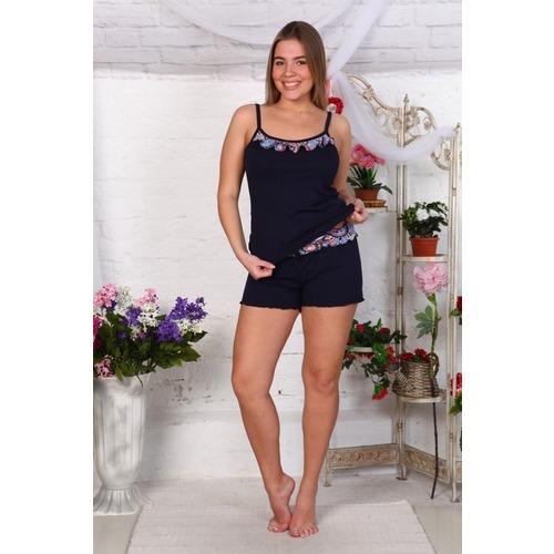 Пижама Лара Однотонная Тем.Синяя Г171 р 48 фото 1