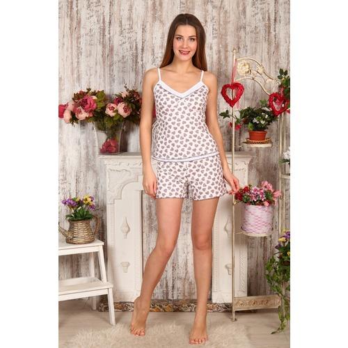 Пижама Топ+Шорты Сердечки На Молочном Б6 р 44 фото 1