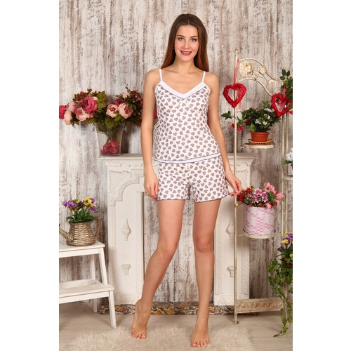 Пижама Топ+Шорты Сердечки На Молочном Б6 р 48 фото 1