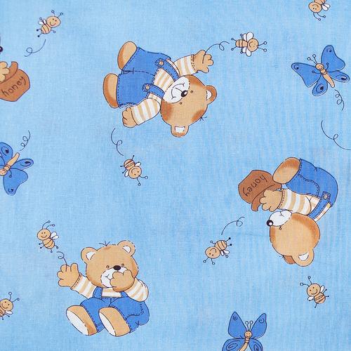 Ткань на отрез бязь ГОСТ детская 150 см 1332/1 За медом цвет голубой фото 1
