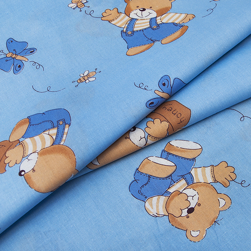 Ткань на отрез бязь ГОСТ детская 150 см 1332/1 За медом цвет голубой фото 2