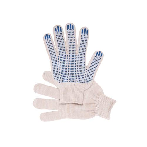 Перчатки рабочие с ПВХ 10-й класс белые 5-ти нитка (Точка) фото 1