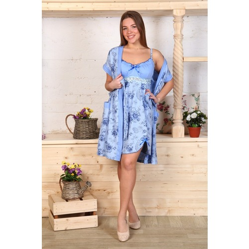 Комплект халат Кимоно и сорочка Царица розы на голубом А20 р 48 фото 1