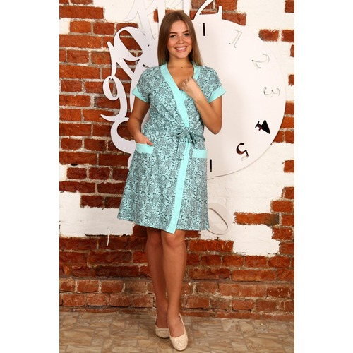 Комплект халат Кимоно и сорочка Царица бирюзовые розы А20 р 52 фото 1