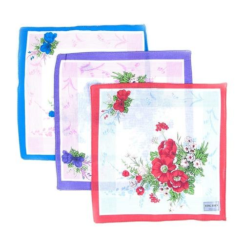 Платки носовые женские 28х28 Цветы 10 шт фото 1