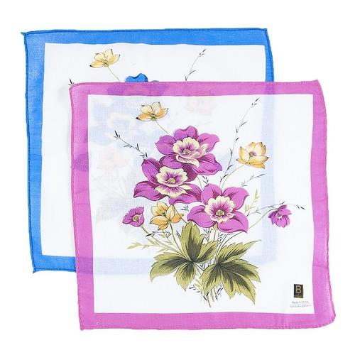 Платки носовые женские 28х28 Цветы 10 шт фото 4