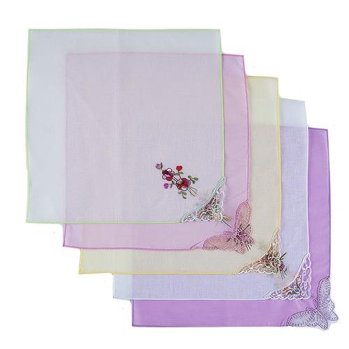 Платки носовые женские с вышивкой 28/28 см расцветки в ассортименте (10 шт.) фото 1