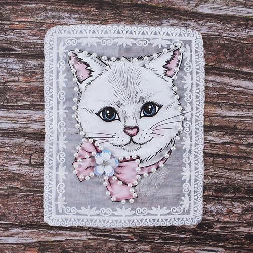 Декоративный элемент пришивной Кошка с цветком 19*23,5 см фото 1