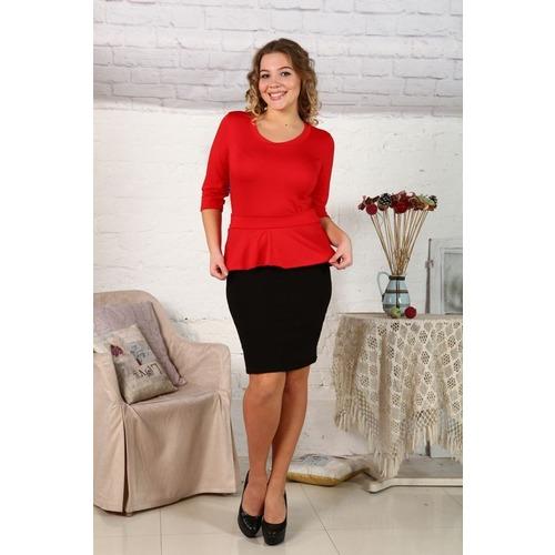 Платье Ирэн однотонное красн.+черное Д425 р 56 фото 1