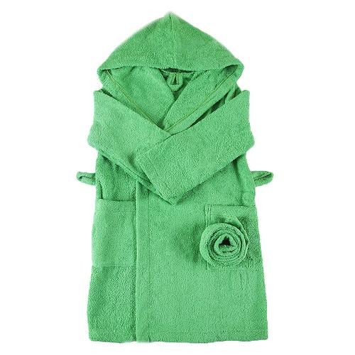 Халат детский махровый с капюшоном зеленый 104-110 см фото 1