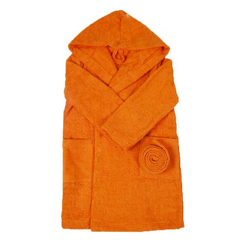 Халат детский махровый с капюшоном оранжевый 128-134 см фото 1
