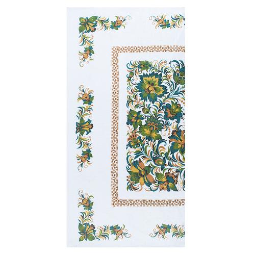 Полотенце полулен 40/80 Цветы цвет зеленый фото 1
