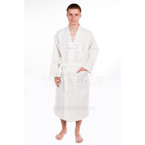 Халат мужской вафельный шалька белый 220 гр/м2 р.46 фото 1