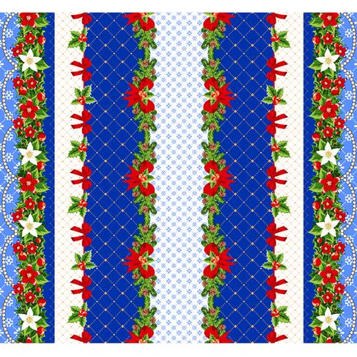 Вафельное полотно набивное 150 см 454-1 Новогодний цвет синий фото 1