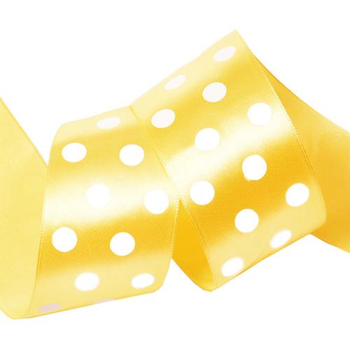 Лента атласная горох ширина 50 мм (27,4 м) цвет 640029 желтый-белый фото 1