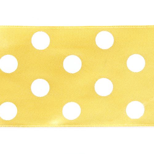 Лента атласная горох ширина 50 мм (27,4 м) цвет 640029 желтый-белый фото 2