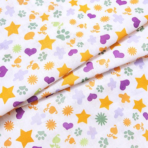 Маломеры бязь плательная 150 см 559/2 Звездочки и лапки цвет сирень 0.9 м фото 1