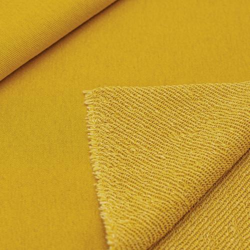 Ткань на отрез футер 3-х нитка диагональный цвет горчичный фото 1