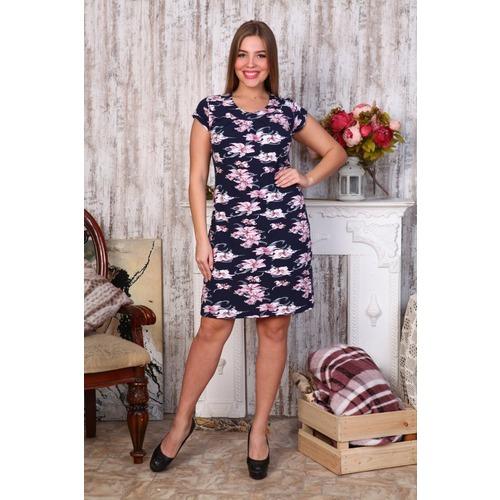 Платье Марго вискоза лилии на тем.синем Д405 р 46 фото 1