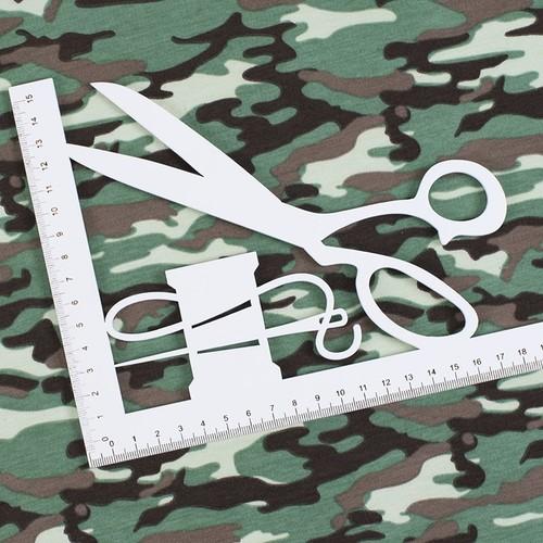 Ткань на отрез кулирка пенье Камуфляж В хаки R163 фото 2