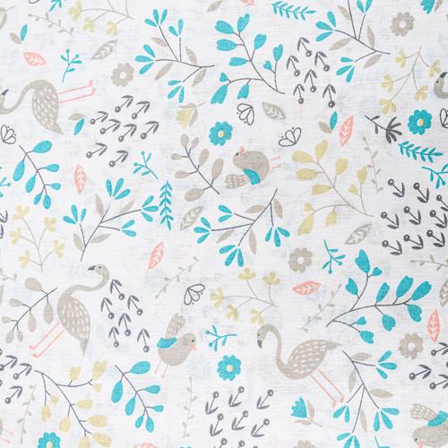 Ткань на отрез бязь плательная 150 см 2136/2 Фламинго в цветах фото 1