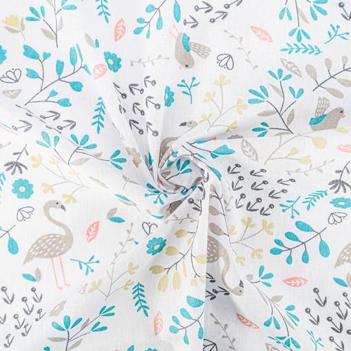 Ткань на отрез бязь плательная 150 см 2136/2 Фламинго в цветах фото 4