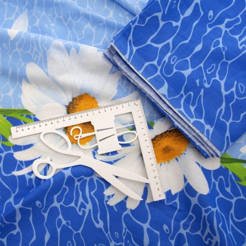 Маломеры Бязь 120 гр/м2 150 см М222 Ромашки на голубом 11 м фото 6