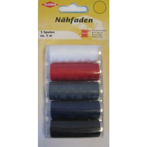 710-09 Kleiber Набор швейных ниток № 60, 100% полиэстер, 5шт (белый, красный, серый, синий, черный) фото 1