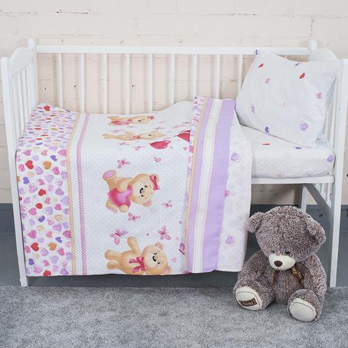 Постельное белье в детскую кроватку из поплина 10601/1 Малыш с простыней на резинке фото 4