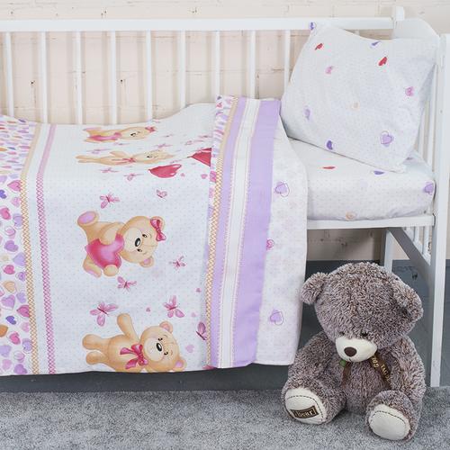 Постельное белье в детскую кроватку из поплина 10601/1 Малыш с простыней на резинке фото 1