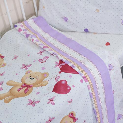 Постельное белье в детскую кроватку из поплина 10601/1 Малыш с простыней на резинке фото 2