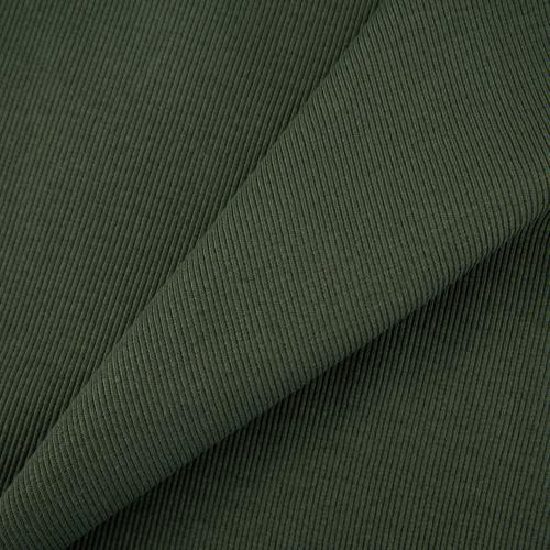 Ткань на отрез кашкорсе с лайкрой 5802-1 цвет темный хаки фото 1