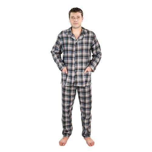 Пижама мужская фланель клетка 44-46 цвет серый фото 1