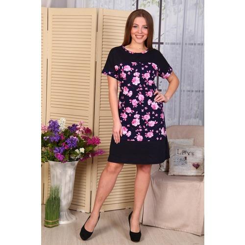 Платье с кокеткой Нинель розовые цветы на тем.синем Д486 р 52 фото 1