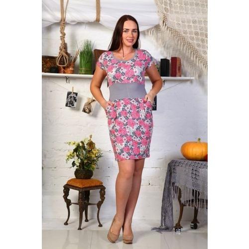 Платье Мария вискоза розовое Д402 р 52 фото 1