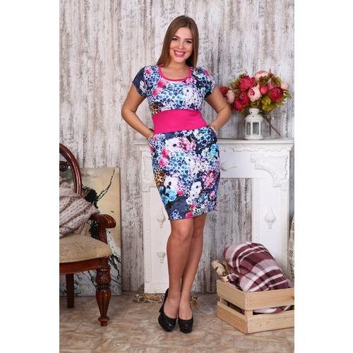 Платье Мария масло голубой +леопард Д403 р 42 фото 1