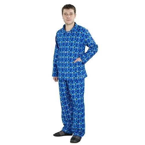 Пижама мужская рукав длинный фланель набивная 52-54 фото 1