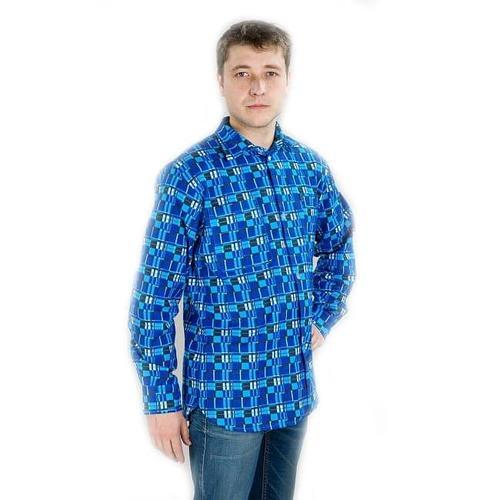 Рубашка мужская рукав длинный бязь набивная 56-58 фото 1