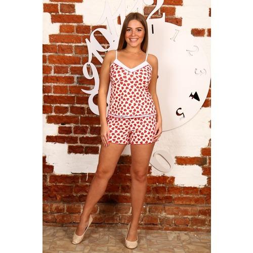 Пижама Топ+Шорты Красные Сердечки На Белом Б6 р 46 фото 1