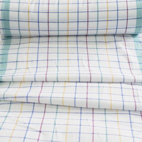 Ткань на отрез полулен полотенечный 50 см 3/60/13 Клетка розово-бирюзовая ива синяя 113358 фото 1