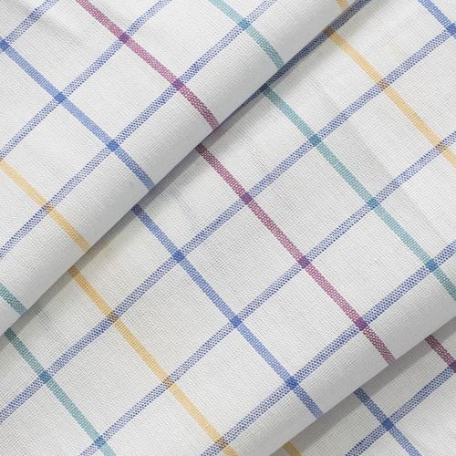 Ткань на отрез полулен полотенечный 50 см 3/60/13 Клетка розово-бирюзовая ива синяя 113358 фото 2